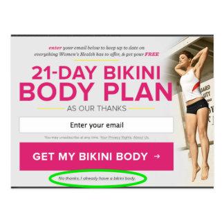 """Bikini body"" Opt-Out Postcard"