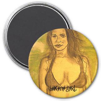 bikini girl art 3 inch round magnet