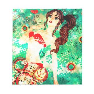Bikini Girl on Grunge Green Background 2 Notepad