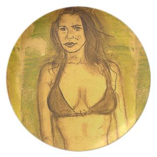bikini girl plate