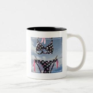 Bikini Hanging On A Clothesline Two-Tone Coffee Mug
