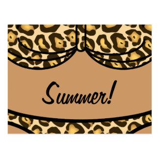 Bikini Leopard Print Postcard