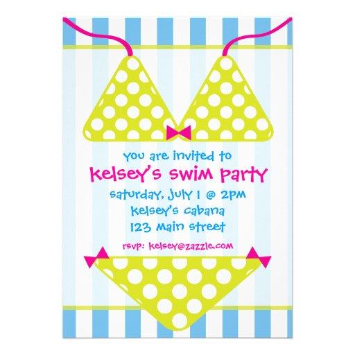 Bikini Swimsuit Swim Pool Party Invitations