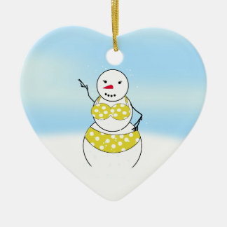Bikini Time Snowmen Bikini Girl Ceramic Ornament