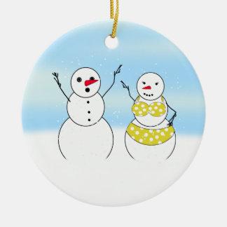 Bikini Time Snowmen Christmas Tree Ornaments