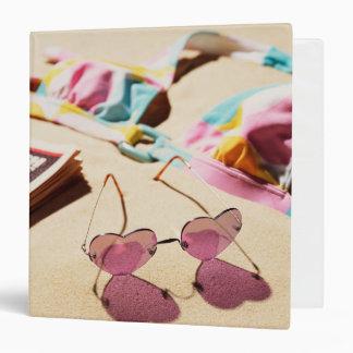 Bikini Top And Heart Shape Sunglasses On Beach 3 Ring Binder
