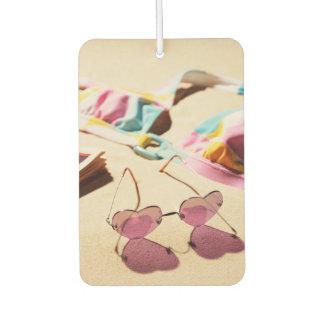 Bikini Top And Heart Shape Sunglasses On Beach Car Air Freshener