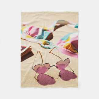 Bikini Top And Heart Shape Sunglasses On Beach Fleece Blanket