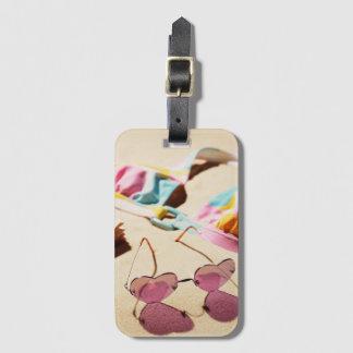 Bikini Top And Heart Shape Sunglasses On Beach Luggage Tag