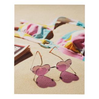 Bikini Top And Heart Shape Sunglasses On Beach Panel Wall Art