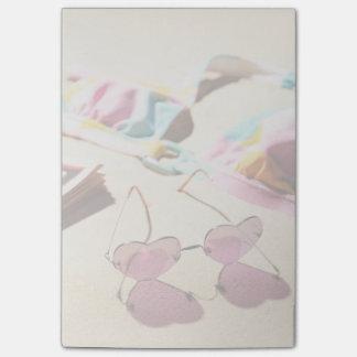 Bikini Top And Heart Shape Sunglasses On Beach Post-it Notes