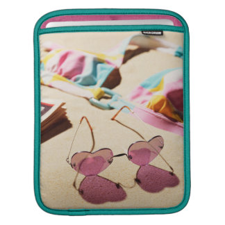 Bikini Top And Heart Shape Sunglasses On Beach Sleeve For iPads