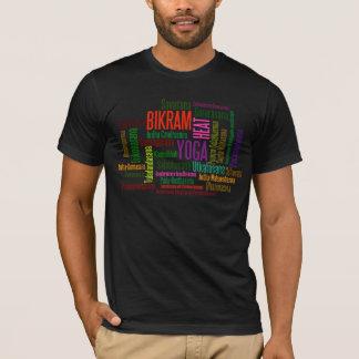 Bikram Hot Yoga Colorful Asanas Poses Word Cloud T-Shirt