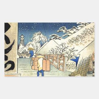 Bikuni Bridge in snow by Hiroshige.jpg Rectangular Sticker