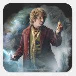 Bilbo con el anillo pegatinas cuadradas