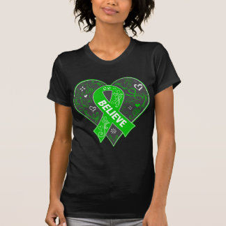 Bile Duct Cancer Believe Ribbon Heart T-Shirt
