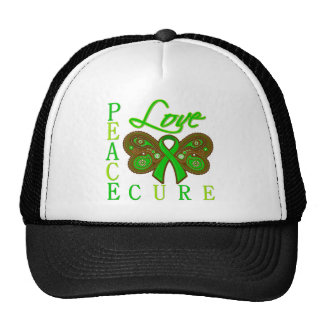 Bile Duct Cancer Butterfly Peace Love Cure Hat