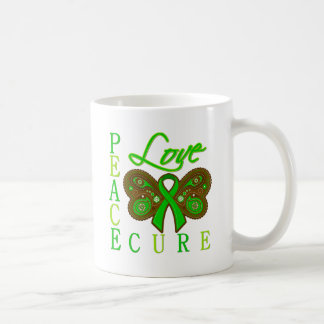 Bile Duct Cancer Butterfly Peace Love Cure Classic White Coffee Mug