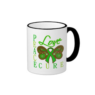 Bile Duct Cancer Butterfly Peace Love Cure Coffee Mug