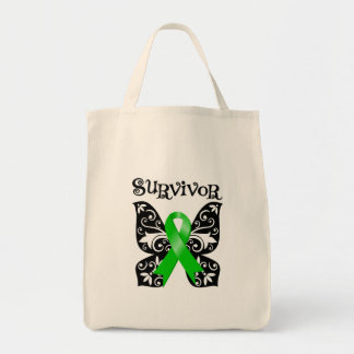 Bile Duct Cancer Butterfly Survivor Grocery Tote Bag