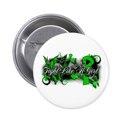 Bile Duct Cancer Fight Like A Girl Butterfly 2 Inch Round Button
