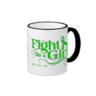 Bile Duct Cancer Fight Like A Girl Elegant Ringer Coffee Mug
