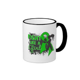 Bile Duct Cancer Fight Like A Girl Grunge Ringer Coffee Mug