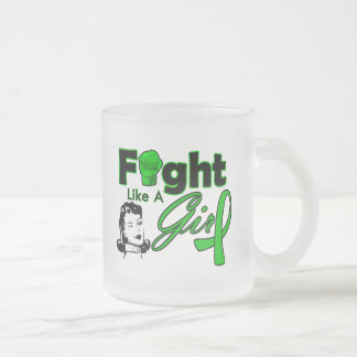 Bile Duct Cancer Fight Like A Girl - Retro Girl 10 Oz Frosted Glass Coffee Mug