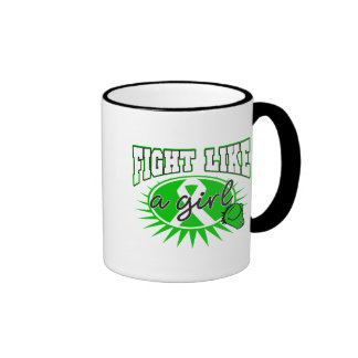 Bile Duct Cancer Fight Like A Girl Sporty Callout Ringer Coffee Mug