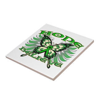 Bile Duct Cancer Hope Believe Butterfly Ceramic Tiles