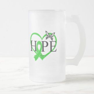 Bile Duct Cancer Hope Butterfly Heart Décor 16 Oz Frosted Glass Beer Mug