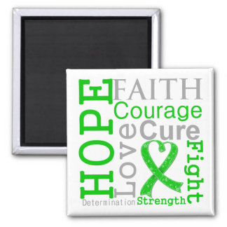 Bile Duct Cancer Hope Faith Motto 2 Inch Square Magnet