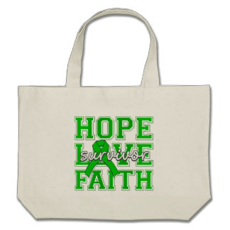 Bile Duct Cancer Hope Love Faith Survivor Tote Bags