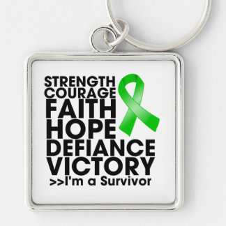 Bile Duct Cancer Hope Strength Victory Silver-Colored Square Keychain