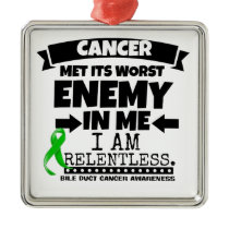 Bile Duct Cancer Met Its Worst Enemy in Me Metal Ornament