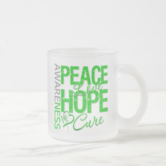 Bile Duct Cancer Peace Love Cure 10 Oz Frosted Glass Coffee Mug