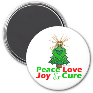 Bile Duct Cancer Peace Love Joy Cure 3 Inch Round Magnet