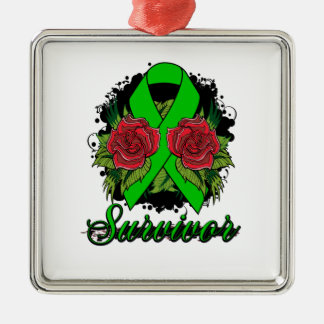 Bile Duct Cancer Survivor Rose Grunge Tattoo Christmas Tree Ornament