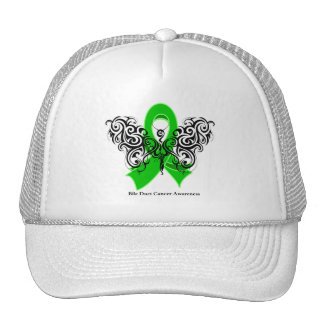 Bile Duct Cancer Tribal Butterfly Ribbon Hats