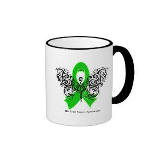 Bile Duct Cancer Tribal Butterfly Ribbon Ringer Coffee Mug