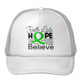 Bile Duct Cancer Typographic Faith Love Hope Trucker Hats