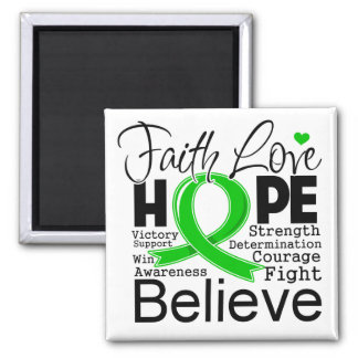 Bile Duct Cancer Typographic Faith Love Hope Refrigerator Magnets
