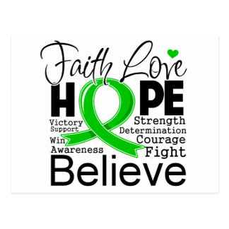 Bile Duct Cancer Typographic Faith Love Hope Postcard