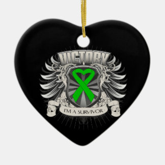 Bile Duct Cancer Victory Double-Sided Heart Ceramic Christmas Ornament