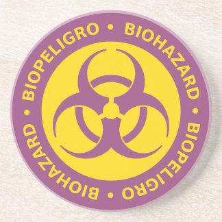 Bilingual Biohazard Warning Sign Coaster