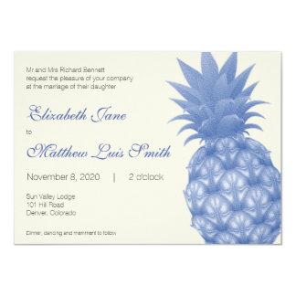 Bilingual Blue Pineapple Wedding Invitation