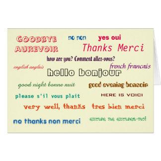 bilingual card French English basic