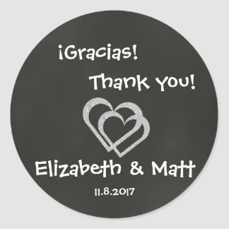Bilingual Chalkboard Heart Wedding Thanks Sticker