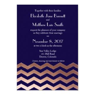 Bilingual Chic Rose Gold Chevron Wedding Invite
