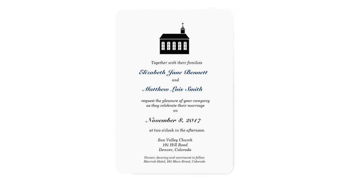 Bilingual Wedding Invitations: Bilingual Classic Chapel Wedding Invitation